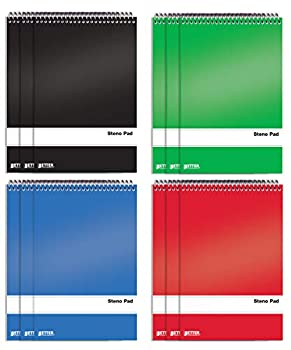 Spiral Steno Pads 12 Pack 6 x 9 inches 80 Sheets White Paper Gregg Rule by Better Office Products Assorted Solid Colors  Red Black Blue Green  12 Pack