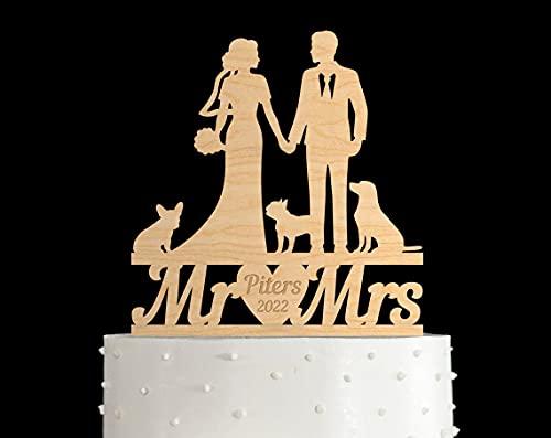 Decoración para tarta de boda con puntero de perro y señora de Francia Bulldog