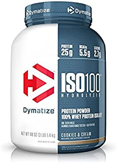 Dymatize ISO 100 Whey Protein Powder with 25g of Hydrolyzed 100% Whey Isolate, Gluten Free, Fast Digesting, Cookies and Cream, 3 Pound