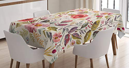 Ambesonne Shabby Flora Tablecloth, Watercolor Abstract Spring Poppies Flowers Roses Buds Leaves Romantic Print, Dining Room Kitchen Rectangular Table Cover, 52' X 70', Cream Pink