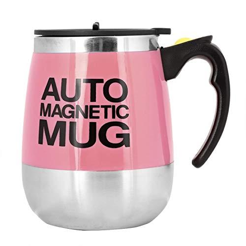 Emoshayoga Taza con agitación automática, Taza para Mezclar café, Taza con agitación de café eléctrica fácil de Usar para la Sala de Estar de la Oficina del hogar(Pink)