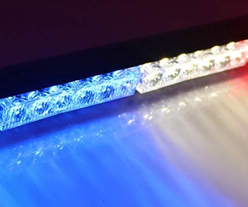 HEHEMM 12 LED stroboscopiques d'avertissement d'urgence pour voiture (blanc bleu)