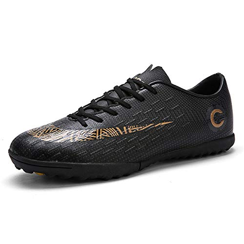 DWZRG Mens Outdoor/Indoor Comfort Athletic Football Soccer Shoes Boys Cleat Futsal Training Sneakers (Toddler/Little Kid/Big Kid) (8.5, Black)