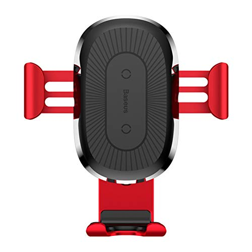 Inalámbrico Cargador de Coche, Cargador automático de sujeción de Coches Salida de Aire del Titular del teléfono para el iPhone x XS 8 Samsung Galaxy S9 S8 S7 Nota 8,Rojo