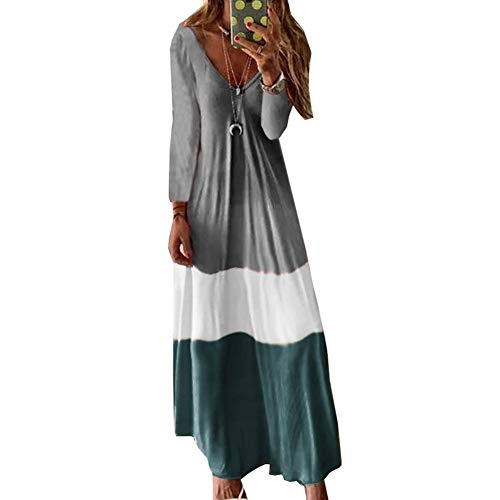 Odot Vestidos Largos Casual Tallas Grandes Manga Larga, Mujer Boho Suelto Cómodo Chic V Cuello Vestido Fiesta...