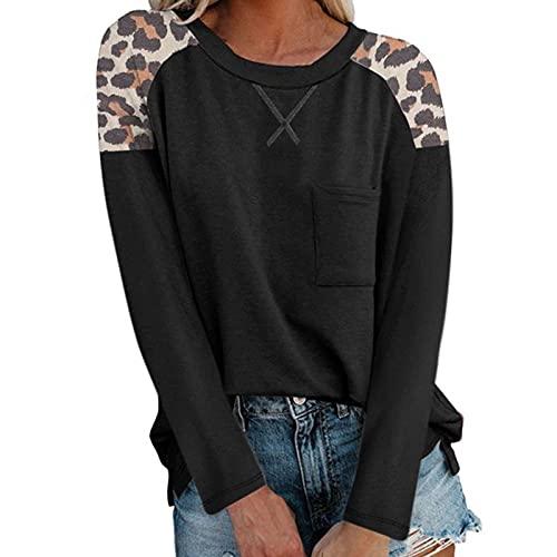 Sudadera de manga larga con cuello redondo para mujer, con estampado de leopardo, manga larga y cuello redondo, blusa de manga larga para mujer