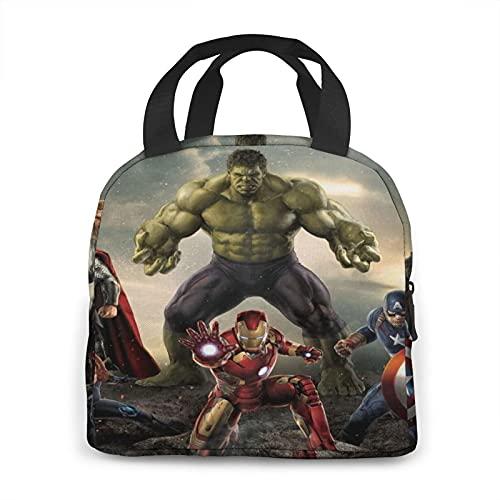 Marvel Avengers - Bolsa de almuerzo para almuerzo, bolsa de almuerzo para adultos con correa para el hombro, para llevar lonchera, kit de almuerzo para camping, pesca, barbacoas