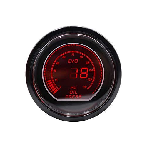 HUACHEN-CHAO Digitale Tester Meter Ölpresse Manometer 52mm 2inch EVO LCD Rot/Blaue 0-150 PSI Öldruckanzeige Rauchglas Multifunktionstester