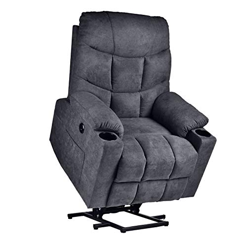 Power Lift Recliner Chair for Elderly with Massage and Heating, Fabric Cloth Lift Recliner Chair with Cup Holder for Living Room (Fabric-Gray)