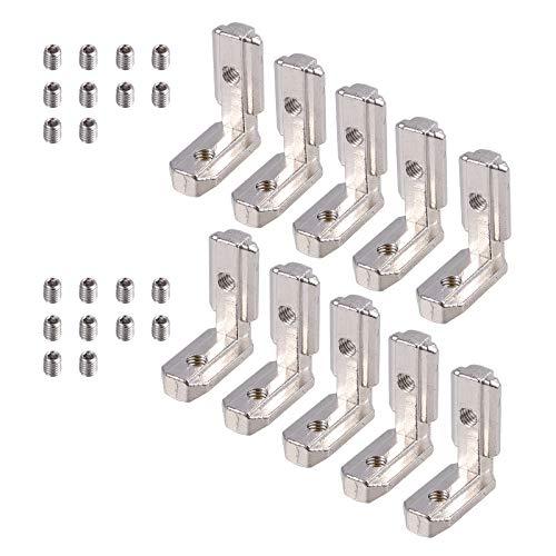 10 x T Slot T-Nut 90°L-Form Zinklegierung Profil EU-3030 Nut 8 Zinklegierung KlammernInneneckverbinder Innenverbindung Winkelwinkel Eckverbinder mit Schrauben