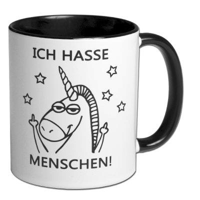 Carol Rose Photography Spruchtasse Einhorntasse Kaffeebecher Frühstück Henkelbecher Tasse mit Spruch Büro Tasse mit Aufdruck Einhorn ICH Hasse Menschen!