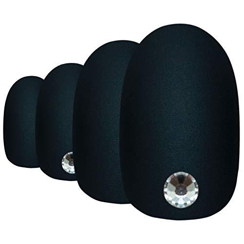 Faux Ongles Bling Art Noir Mat Ovale 24 Moyen Faux bouts d'ongles acrylique avec colle