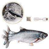 Charminer Katzenspielzeug Elektrische Fische, Katze Interaktive Spielzeug USB Elektrische Plüsch Fisch Spielzeug Fisch mit Katzenminze für Katze zu Spielen, Beißen, Kauen und Treten