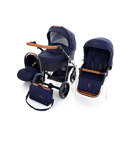 Venicci Gusto 2.0 3-in-1 Travel System (9 Piece Bundle) - Azzuro - with Carrycot + Car Seat + Changing Bag + Footmuff + Raincover + Mosquito Net + 5-Point Harness and UV 50+ Fabric + Car Seat Adapters