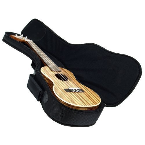 Hola! Music Heavy Duty CONCERT Ukulele Gig Bag (up to 24 Inch) with 15mm Padding, Black
