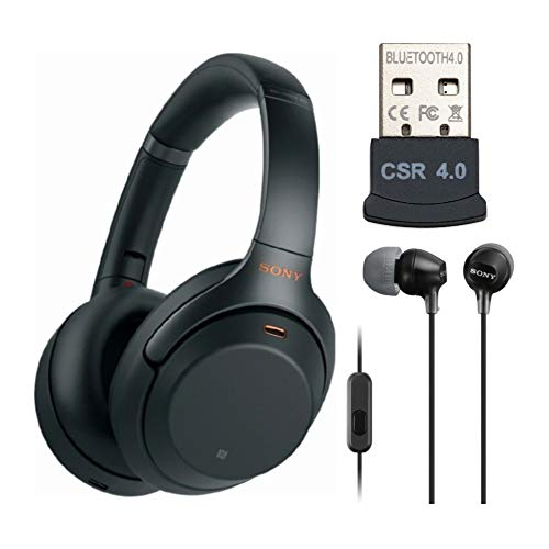 Sony WH-1000XM3 Wireless Noise-Canceling Over-Ear Headphones (Black, USA Warranty) with Sony in-Ear Headphones with mic (Black) and USB Bluetooth Adapter Bundle