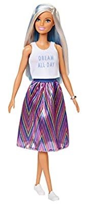 ?Barbie Fashionistas Doll with Long Blue and Platinum Blonde Hair Wearing 'Dream All Day' Tank, Striped Skirt and Accessories, for 3 to 8 Year Olds from Mattel