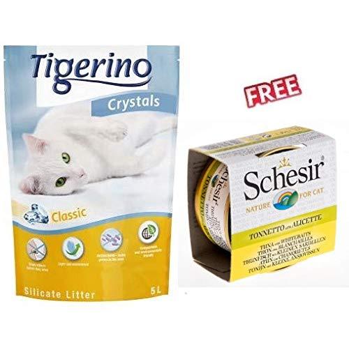 Tigerino Crystals Arena de Silicona para Gatos, Paquete de 6 x 5 litros, Detiene los olores en Segundos, luz Extremadamente Absorbente y eficaz Antibacteriano + túnel para Gato en Verde y Blanco