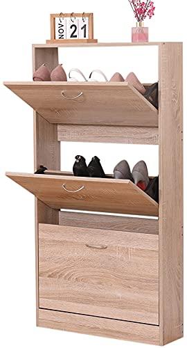 Zapatero de madera MDF mueble zapatero para baño entrada organizador zapatos 63 x 17 x 120 cm roble