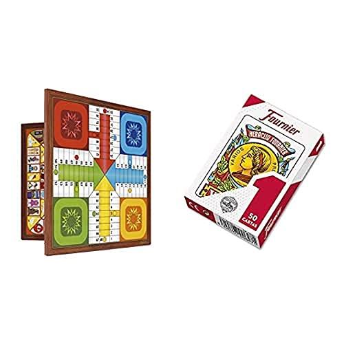 Fournier Parchis Y Oca 33X33 Cm Tablero, Multicolor, Única (521111) + F20991 Baraja Española Nº 1, 50 Cartas, Surtido: Colores Aleatorios