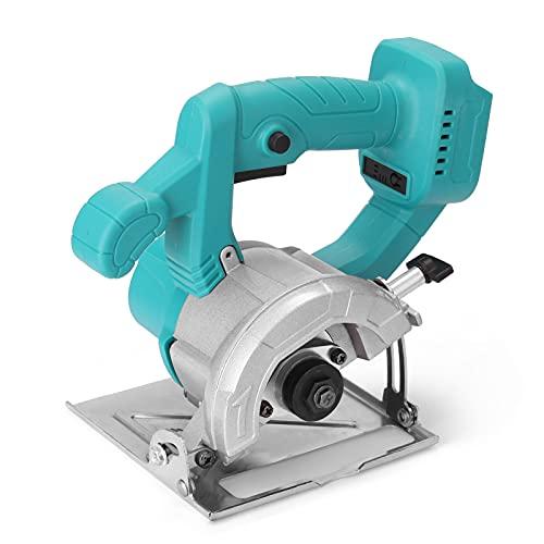 Sierra circular eléctrica, 4 pulgadas 21 V sierra circular eléctrica 0-34 mm profundidad de corte ajustable herramienta de carpintería tablero de madera máquina de corte de mármol sin batería