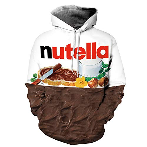 ERIC.LI Hoodie Unisex 3D Animal Print Hoodie for Men Women Funny Printed Long Sleeve Hooded Pullover Sweatshirts Grafik Hoodie Mit Drawstring Taschen Bunt Druck Kapuzen Paar Tragen Nutella L