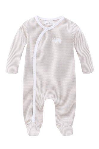 Bellybutton Kids Unisex - Baby Strampler Bellybutton Kids Schlafstrampler mit Fuß, 10892-90645, Gr. 62, Mehrfarbig (white/taupe striped)
