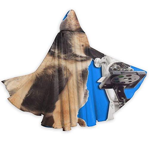 NR Hund und Mikroskop Halloween Umhang Fancy Kapuze Cape mit Kordelzug Adult kühle Hexe Robe extralange Partei Cape