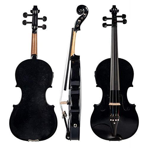 LOIKHGV 4/4 Violino Full Size Violino Suono e Violino Elettrico Corpo in Legno massello Accessori in Ebano Violino Elettrico Nero di Alta qualità, Nero