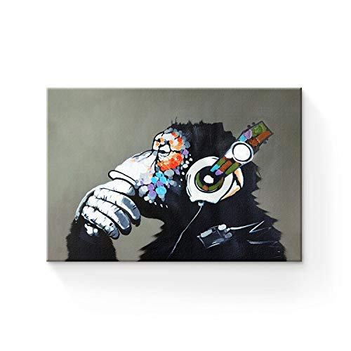 Libaoge Modern Framed Gorilla Monkey Music Wall Decoration/Home Decor Oil Painting on Canvas 16x20in
