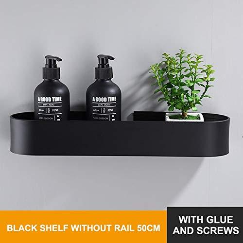Estante de baño Estante de Pared de Cocina Estante de Toalla de baño Cesta de Almacenamiento de Ducha Negra Organizador de Cocina Accesorios de baño - 50 cm Negro, q4