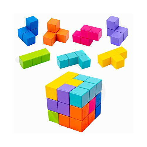 Tangram 3D Juego De Puzzle De Madera Pensamiento Juguete Cubo Entrenamiento del Bebé La Educación Juega Primeros
