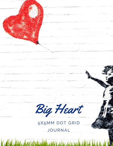 """Big Heart: 5x5mm Dot Grid Notebook, Journal, Diary, Size 8.5"""" x 11"""", 100 Pages, Soft Cover"""