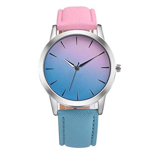 AK Ultradünne Mode kleine frische Kontrastfarbe Uhr quarzuhr Mode weibliche Uhr Paar Uhr rosa und blau verlaufende Mode