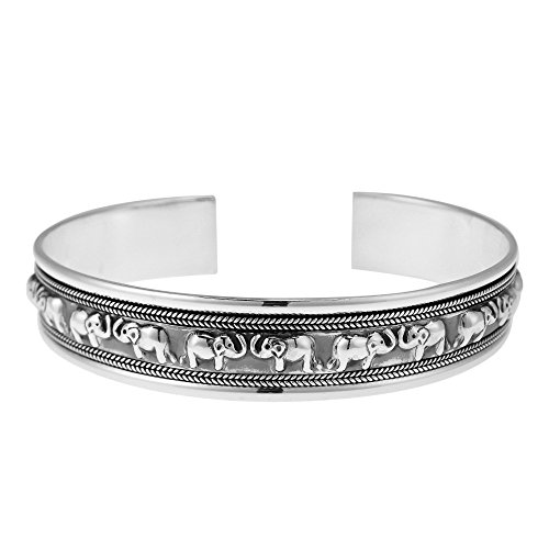 Lovable Couple Face to Face Elephant .925 Sterling Silver Cuff Bracelet