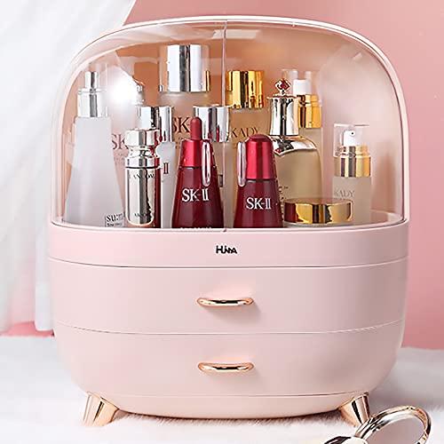 Ihuiniya Modern Makeup Storage Organizer Box Cosmetics storage display rack with drawer,Waterproof, dustproof, elegant display cabinet,Suitable for bathroom countertop, bedroom dresser (Medium Pink)