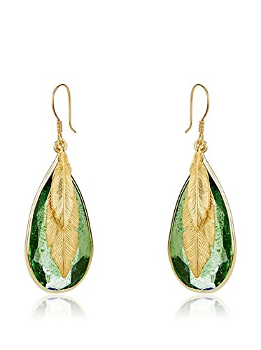 Córdoba Jewels | Pendientes en plata de Ley 925 bañada en oro. Diseño Luxury Esmeralda Pluma Oro