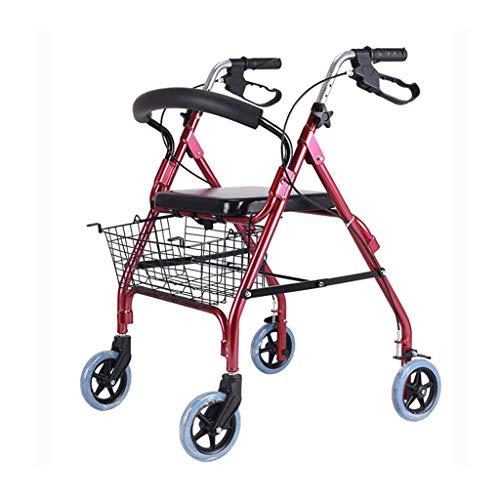 Andadores estándares y ligeros Andador For Ancianos Conveniente Plegable Ancianos Walker Carretilla Aleación De Aluminio Multifunción De Cuatro Ruedas Walker Ayuda For Caminar Andadores estándares y l