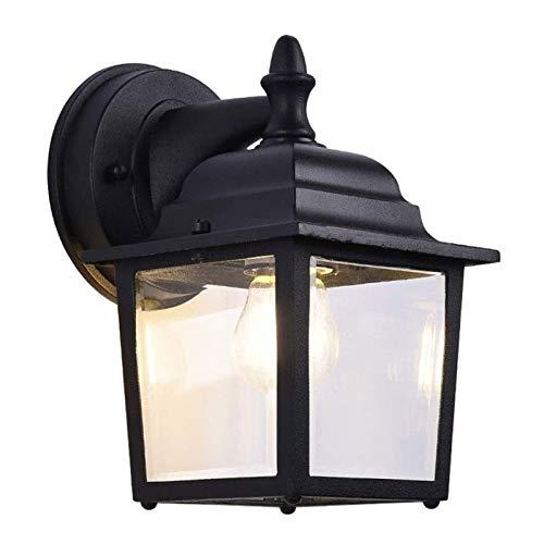 Lámpara de pared resistente Pared Exterior farol moderno Hierro Metal lámpara de pared 1 de iluminación Iluminación pared impermeable E27 en garaje porche exterior Luz de cristal Decoración Linterna