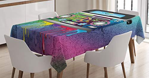 ABAKUHAUS groovy Tafelkleed, Oude Stijl Hippie Van, Eetkamer Keuken Rechthoekige tafelkleed, 140 x 170 cm, Veelkleurig