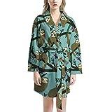 AFPANQZ Women's Bathrobe Warm Textured Kimono Robe with Front Pockets Comfortable Sleepwear Lounge Robes Short Knee-Length Waist Belt Tie Pajamas for Girls, Super Cute Sloths on Tree Green