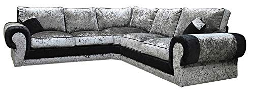 Big Corner Sofa Suite Tango Armchair Crushed Velvet Black and Silver (Corner 2c2)