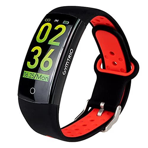 GYMTRIC Q6S Reloj Inteligente Modos Deportivos Pulsera Fitness Smart Watch Fitness Monitor de Ritmo Cardíaco Seguimiento Actividad (Negro/Rojo)