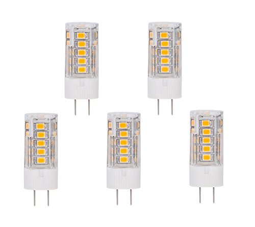 CBConcept 5-Pack, LED G4, 320 Lumens, 2.8 Watt (35W Equal), Warm White 3000K, 360° Beam Angle, Not Dimmable, Low Volt AC/DC 12 Volt, JC G4 Bi-Pin Base LED Halogen/Xenon/Incandescent Replacement Bulb
