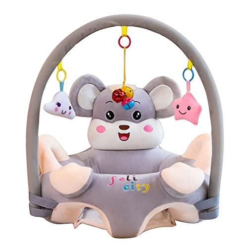 Support Coussin de Bébé, Bébé Canapé en Peluche Forme Animaux Mignon, Protection pour Bébé Apprendre à S'assoire Jouets pour 0-3 Ans, pour Maison Voyage Picnic (Gris A)