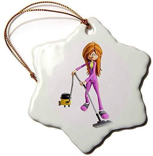 TIFA-LOVE Boehm Graphics Cartoon Cartoon Woman Using A Vacuum Cleaner 3' Snowflake Porcelain Ornament