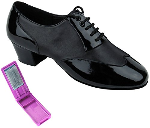 Very Fine Dance Shoes - Mens Standard, Smooth, Waltz Ballroom Dance Shoes - M100101-1.5-inch Heel and Foldable Brush Bundle - Black Patent - Black Leather - 8.5