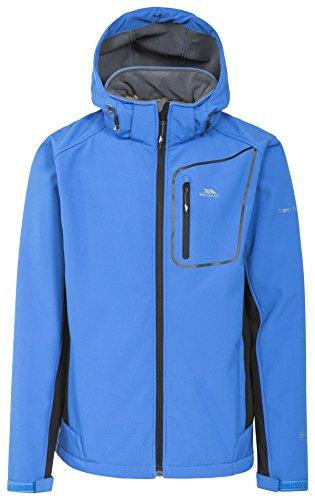 Trespass Strathy II, Blue, XL, Wasserdichte Softshelljacke mit abnehmbarer Kapuze für Herren, X-Large, Blau