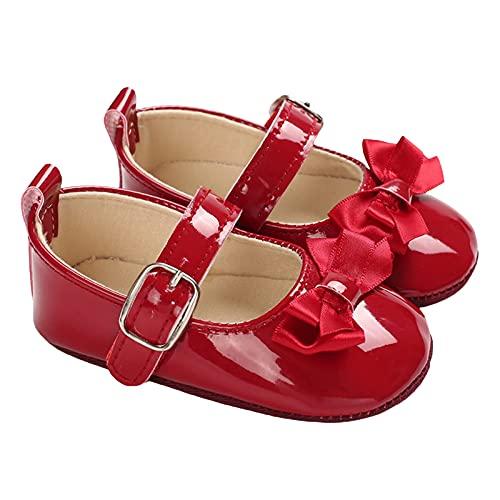 Siyova Scarpe Neonata Scarpe da Principessa per Bambini con Fiocco Scarpe Battesimo in PU Tinta Unita Scarpe Primi Passi Scarpe Bimba Elegante Carino (Rosso, 6-12 Mesi)