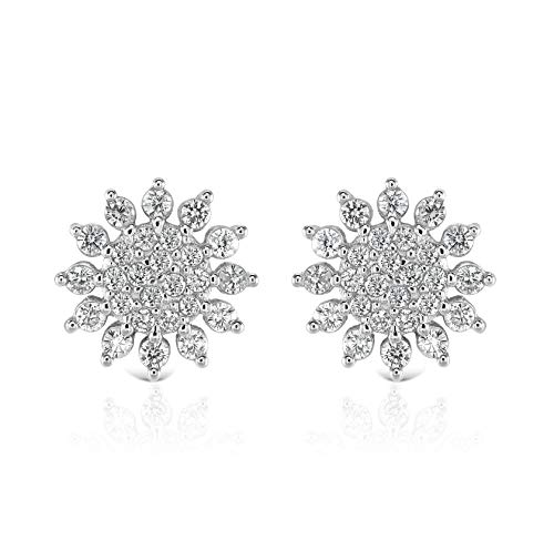 Isabella Silver LONDON Designer Jewellery 925 Sterling Silver Stud Earrings - The Holiday Collection (Flower)